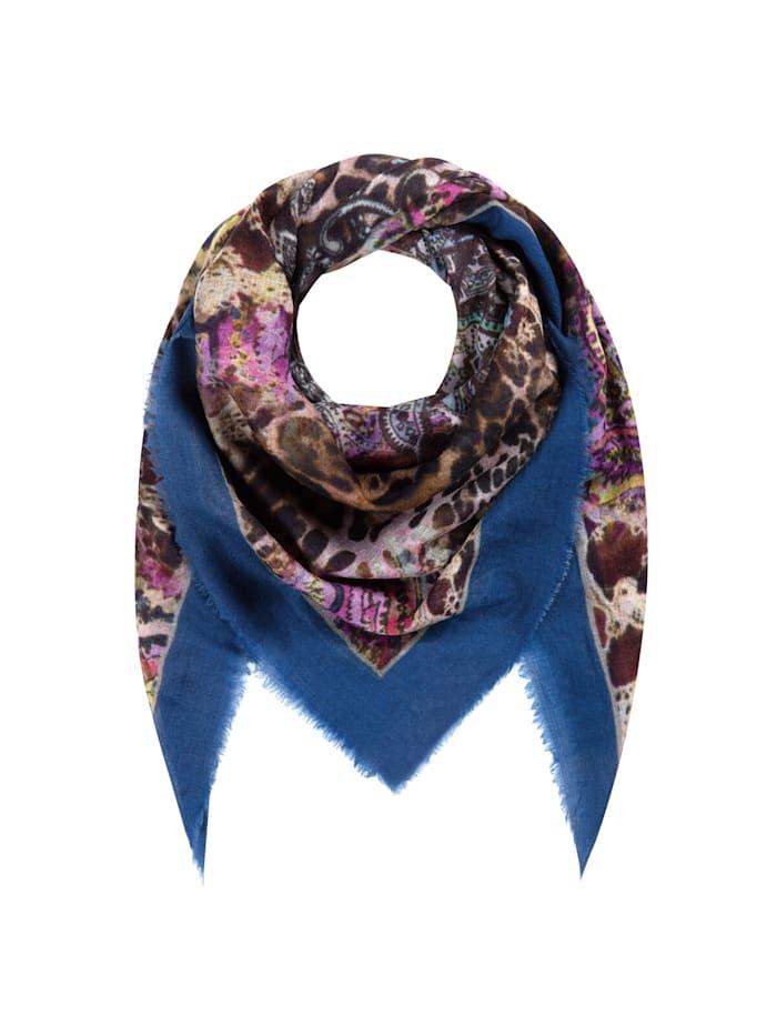 Codello Premium Tuch im Leo-Look aus Wolle und Seide, dark blue