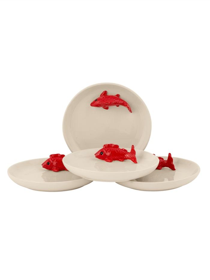 IMPRESSIONEN living Dessertteller-Set, 4-tlg., weiß/rot