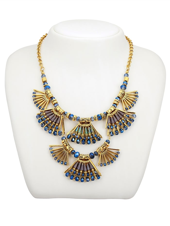 KLiNGEL Statement-Collier mit Glaselementen, Blau