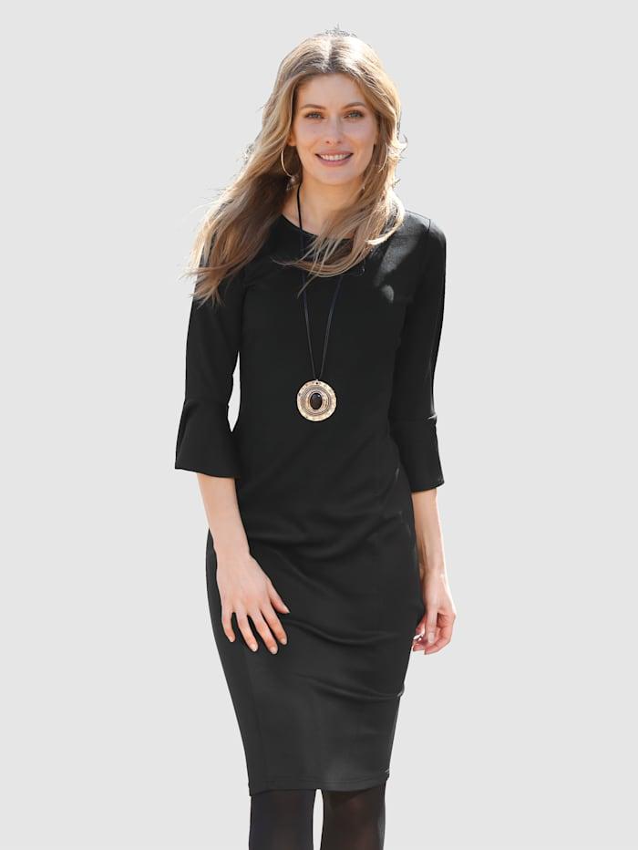 Laura Kent Jerseykleid mit Volantärmel, Schwarz
