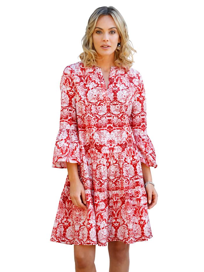AMY VERMONT Kleid mit Volant, Weiß/Rot