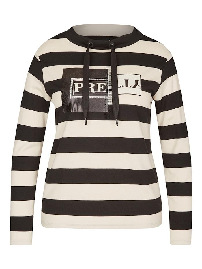 Le Comte Shirt mit Ringeln und Front-Print, BLACK