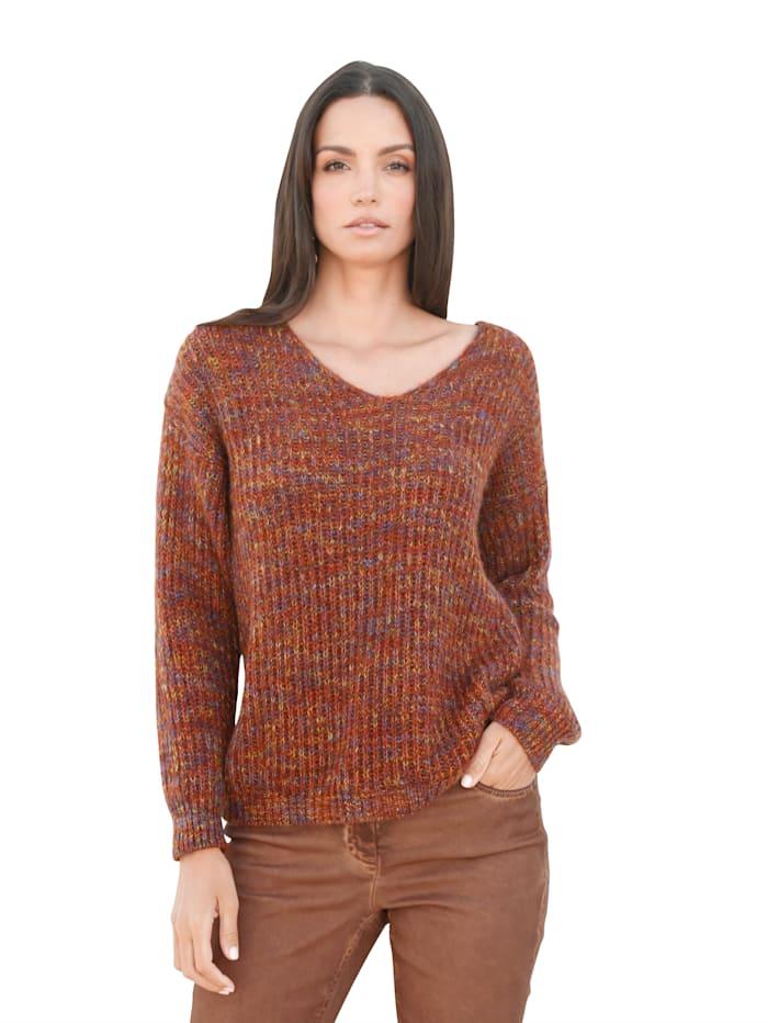 AMY VERMONT Pullover in flauschiger Qualität, Rost/Gelb/Blau
