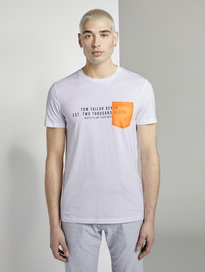 T-Shirt mit kontrastfarbener Brusttasche