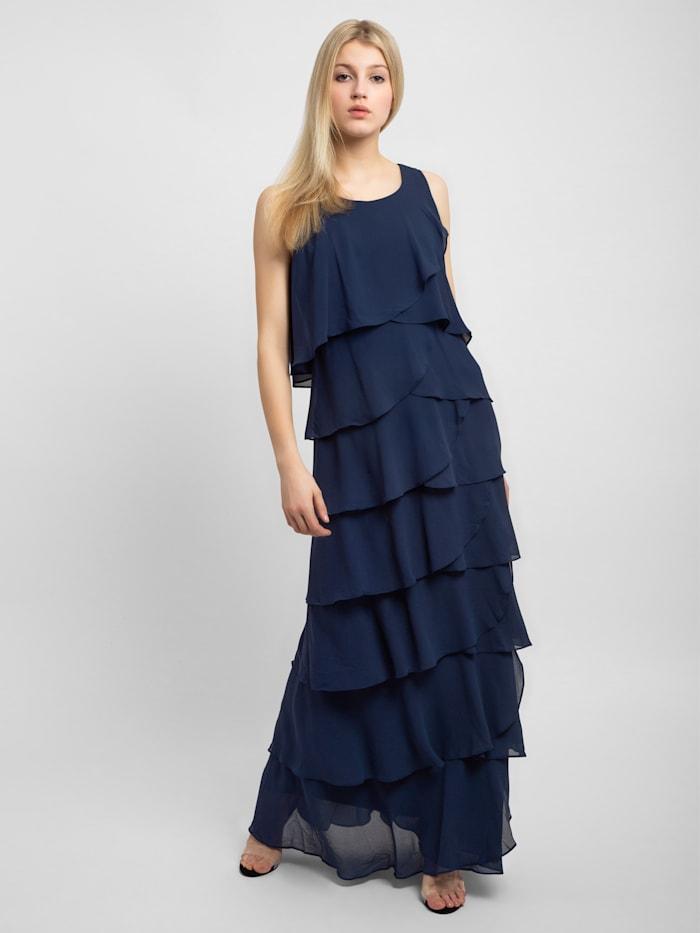 APART Abendkleid mit stufigen Volants, blau