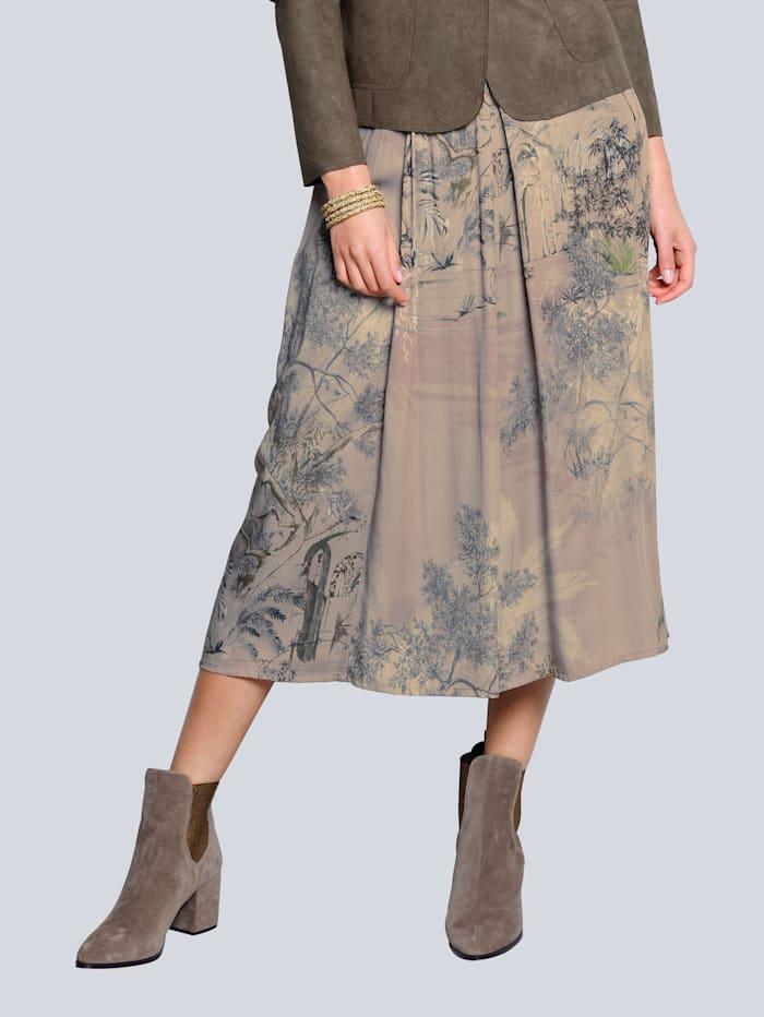 Alba Moda Rok met dessin rondom, Taupe/Offwhite