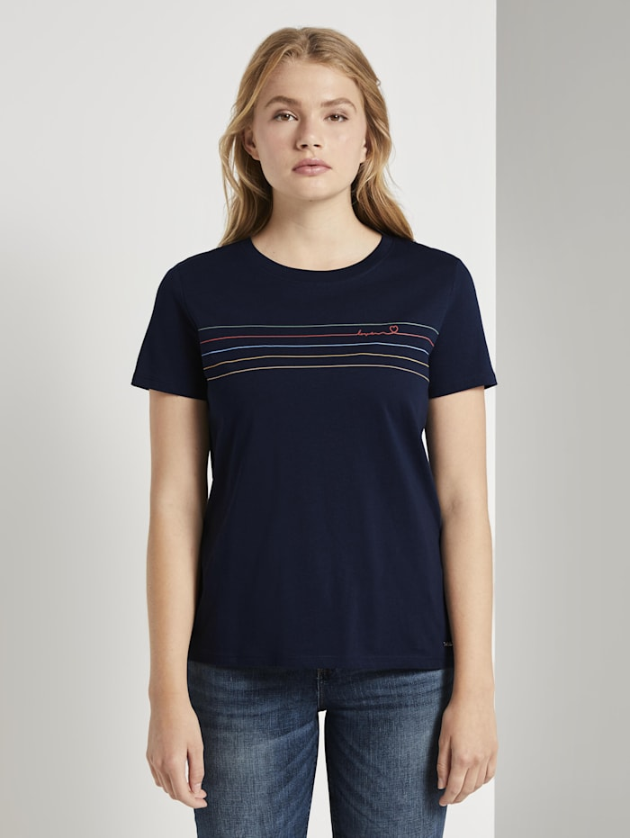 Tom Tailor Denim T-Shirt mit Streifenprint, Real Navy Blue