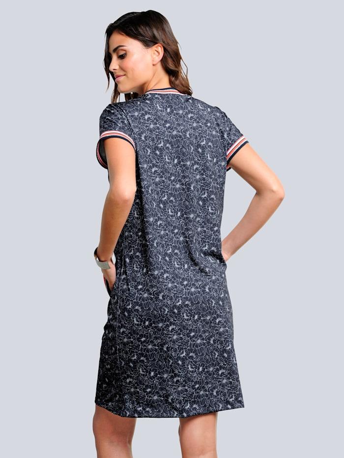 Jerseykleid mit Blumen-Dessin allover