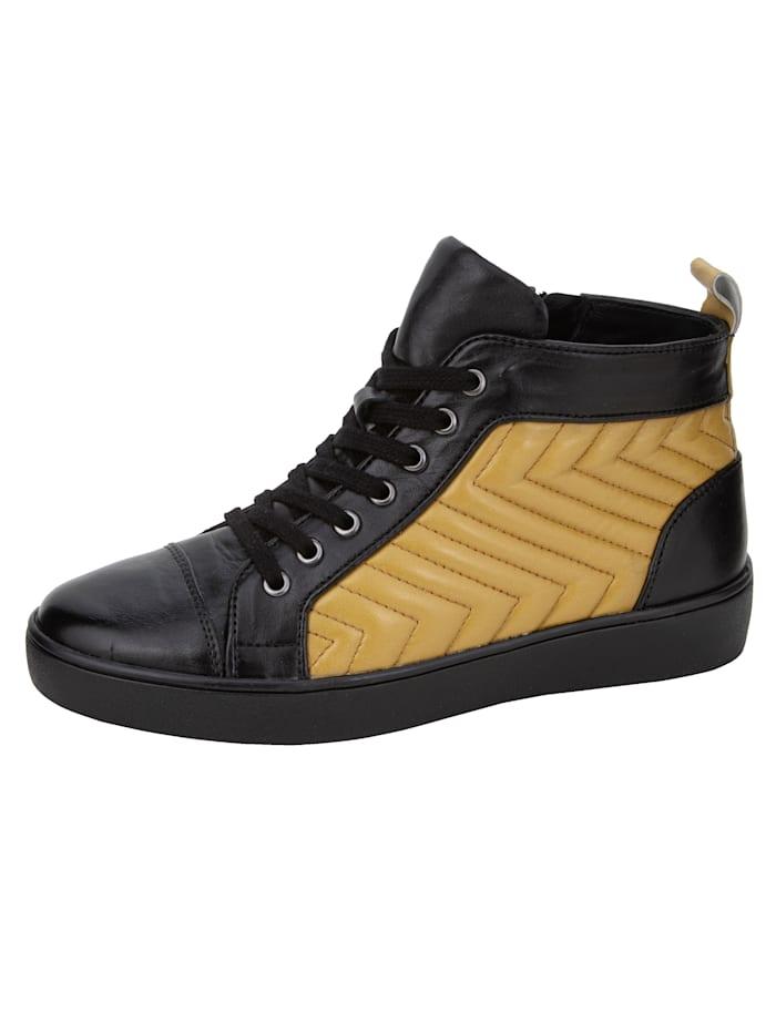 Gerry Weber Sneakers montantes en cuir nappa d'agneau ultra souple, Noir/Jaune