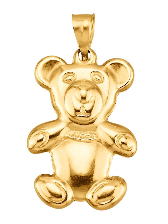 Teddybär-Anhänger in Gelbgold 375, Gelbgoldfarben