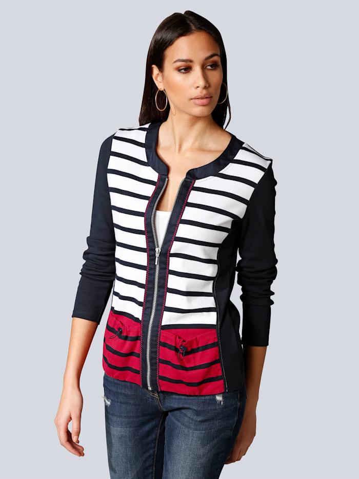 Alba Moda Shirtjacke im Ringel-Dessin, Marineblau/Weiß/Rot
