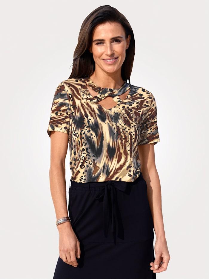 MONA Shirt met animalprint rondom, Zand/Bruin/Zwart
