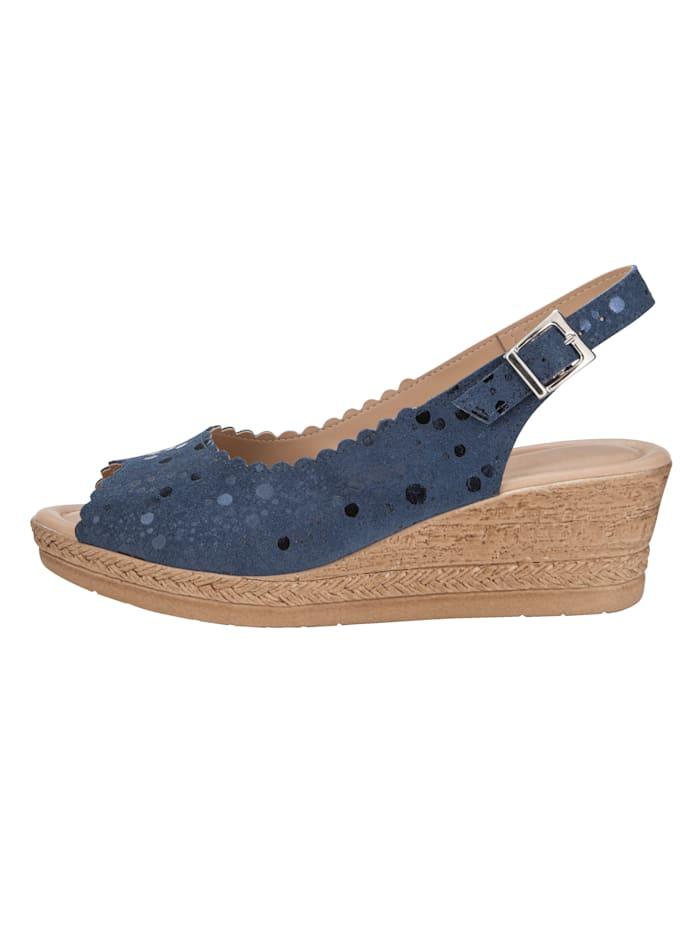 Sandaletter med kilklack och skimrande yta