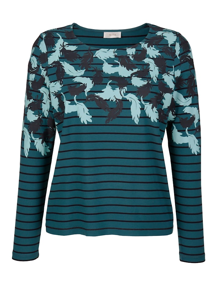 Shirt mit platziertem Blätterdruck