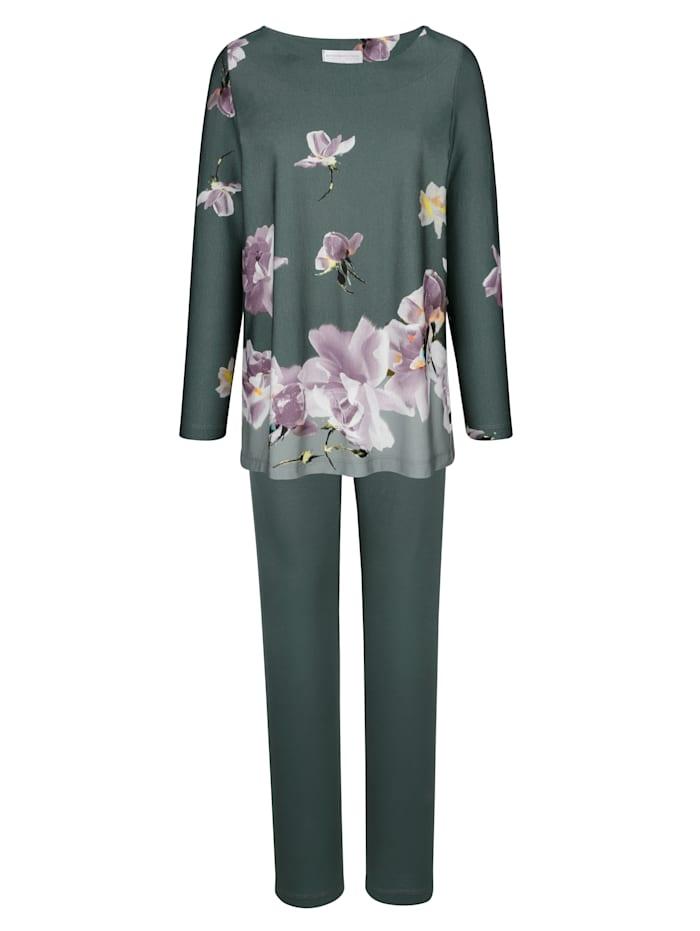 MONA Pyjama met gebloemde rand, Salie/Lila/Ecru