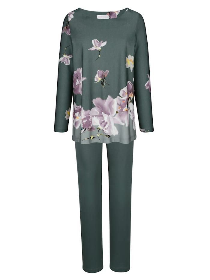 Schlafanzug mit floralem Bordürendruck, Salbeigrün/Flieder/Ecru