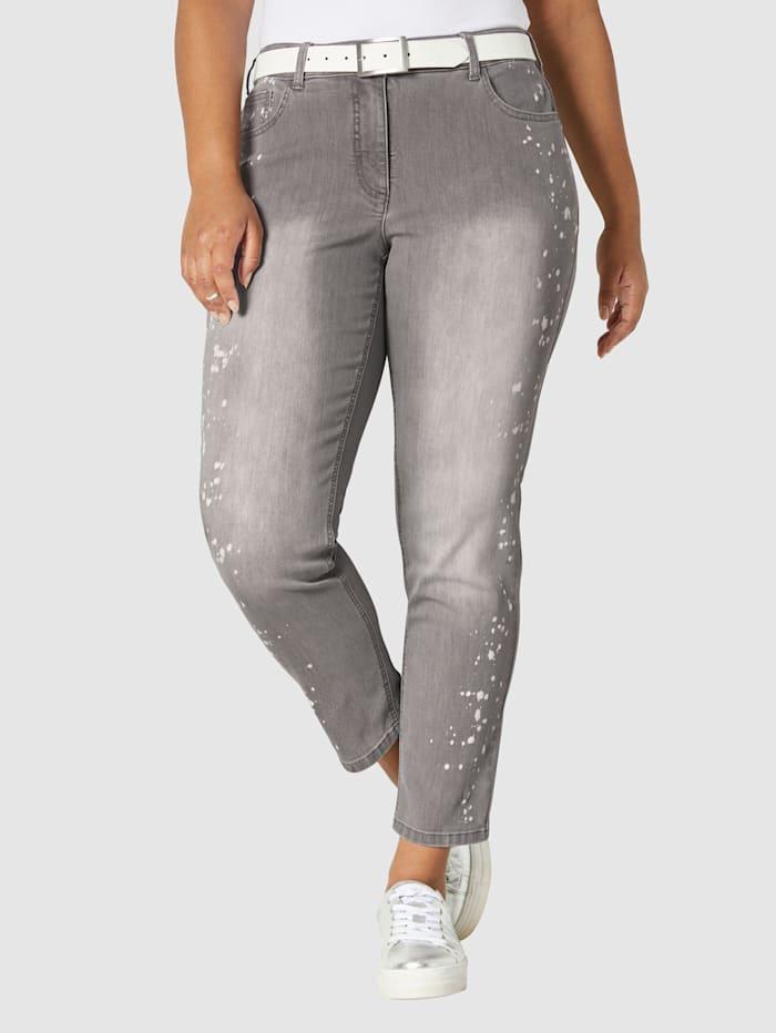 Angel of Style Jeans met print in verfspattenlook, Grijs/Wit