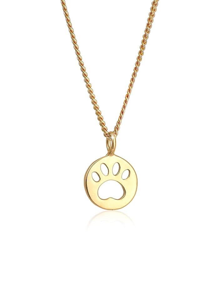 Elli Halskette Kinder Pfote Katze Hund Plättchen 925 Silber, Gold