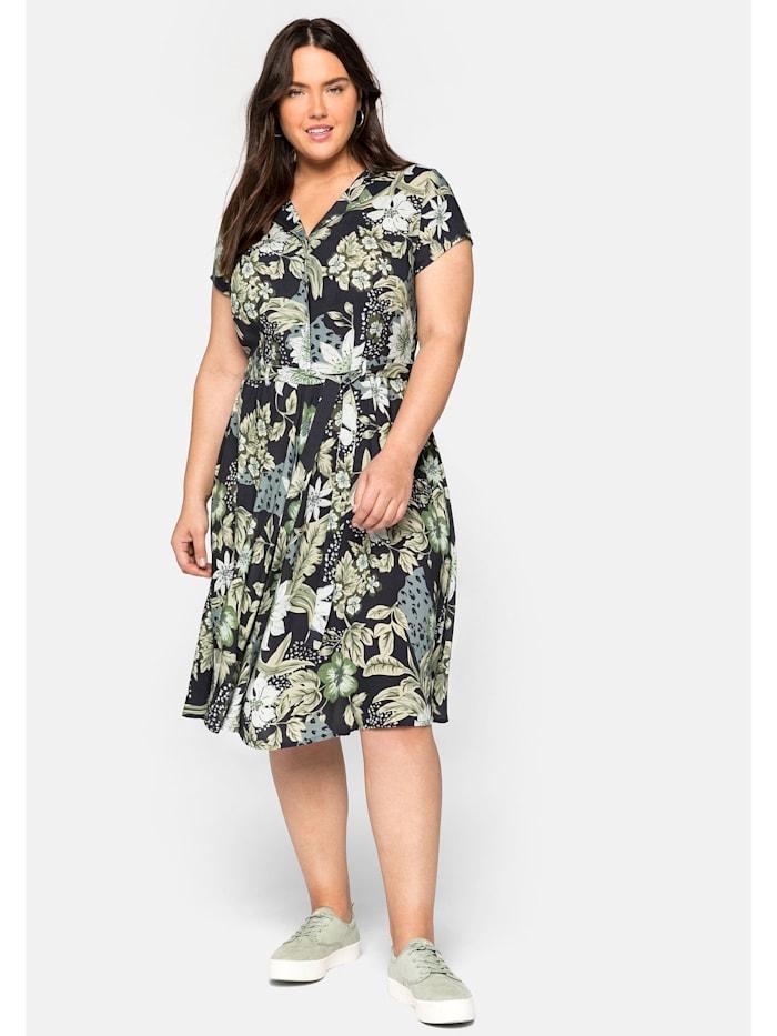 sheego by Joe Browns Hemdblusenkleid mit Blumendruck und Bindegürtel, marine bedruckt