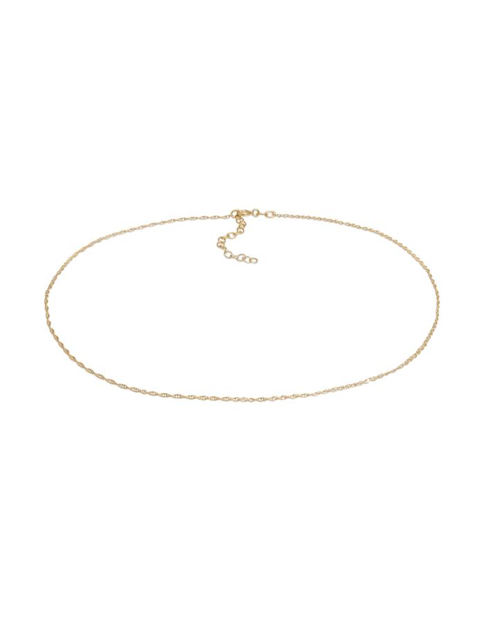 Elli Halskette Choker Basic Twisted Chain Gedreht Fein 925 Silber, Gold