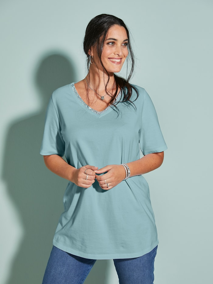 MIAMODA Shirt Met flatterende V-hals, Mint