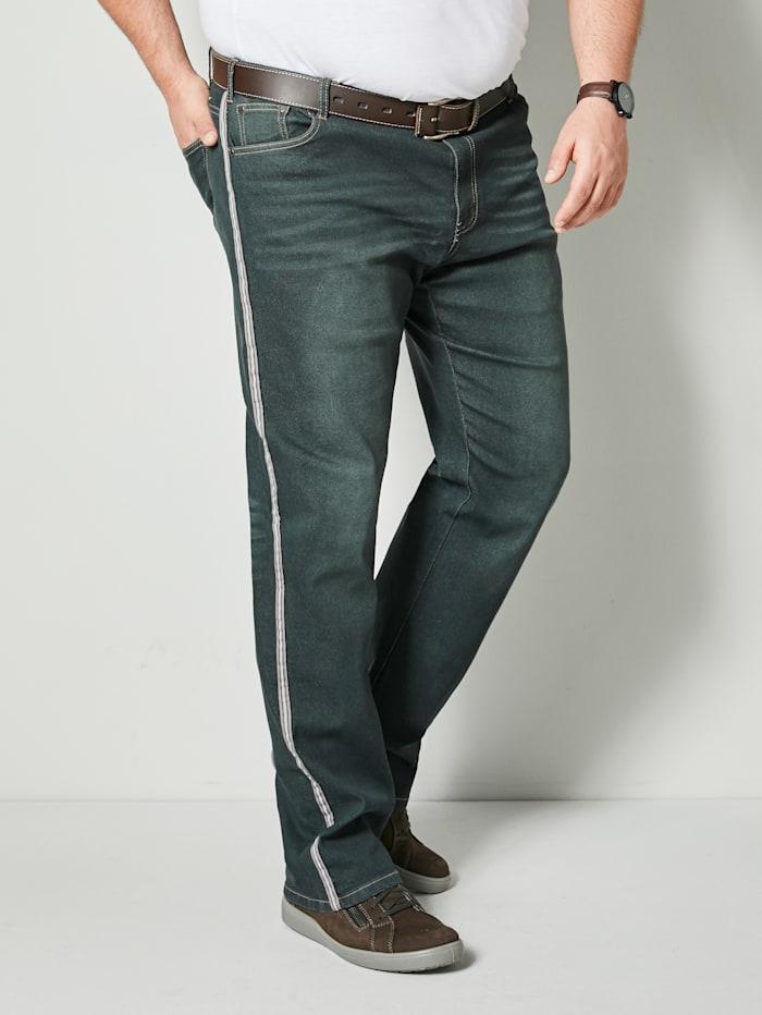 Men Plus Jeans met galonstrepen, Donkergroen