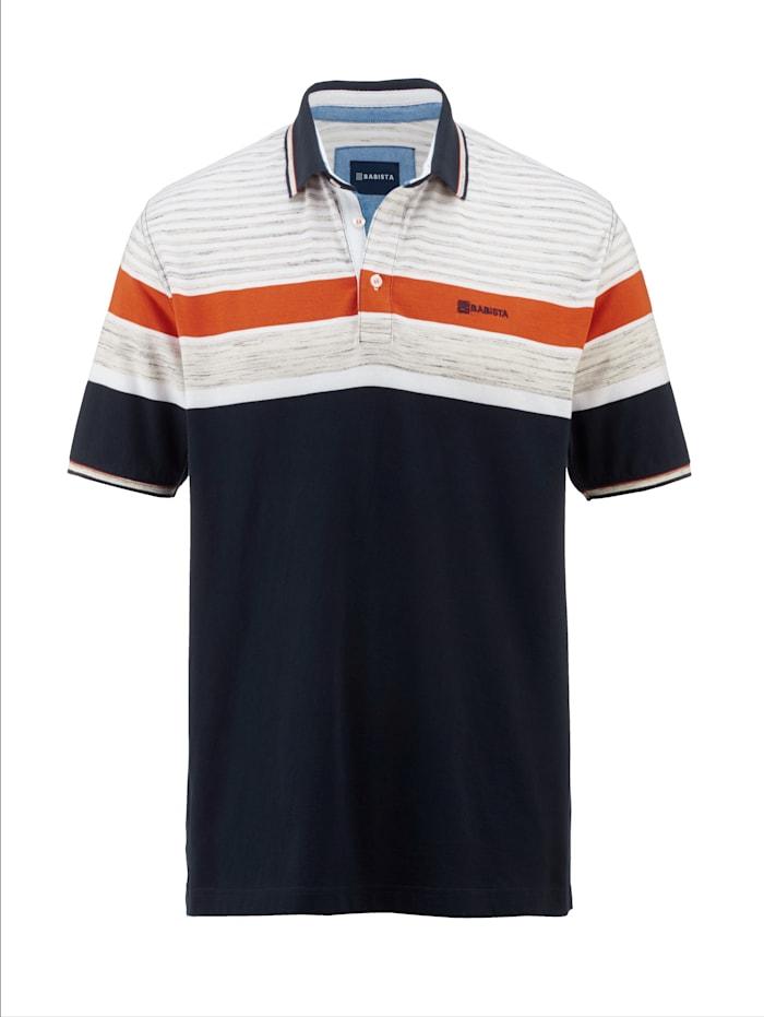 BABISTA Poloshirt met ingebreide strepen, Marine/Oranje