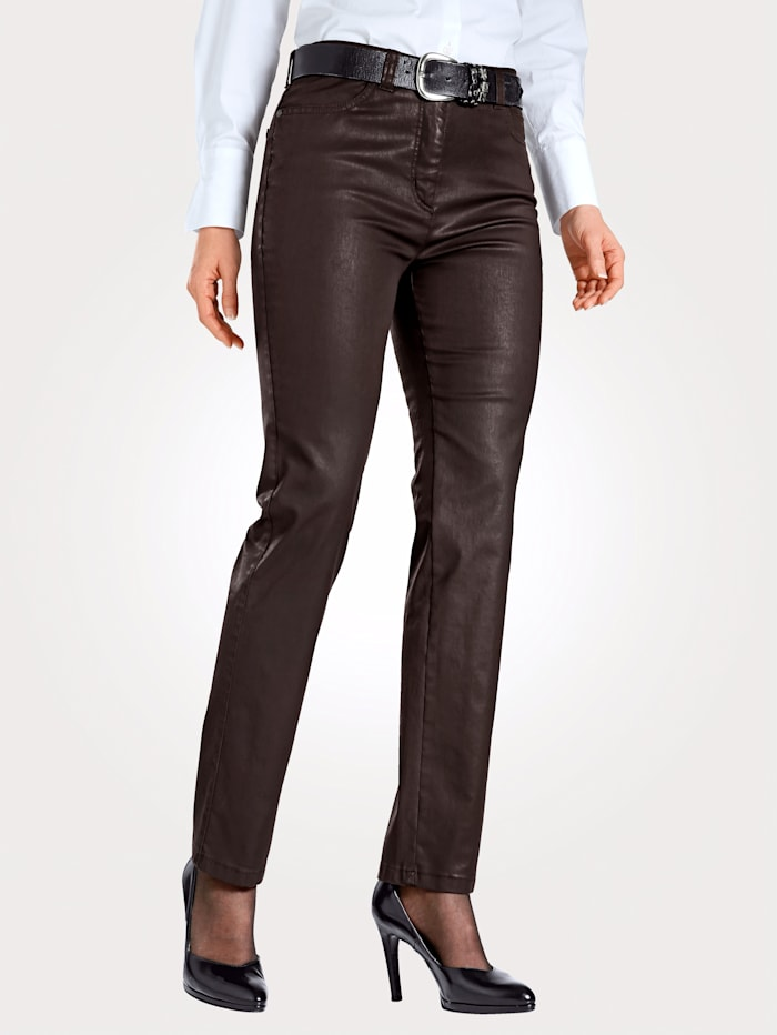 Toni 5-pocket trousers in leather look, Brown