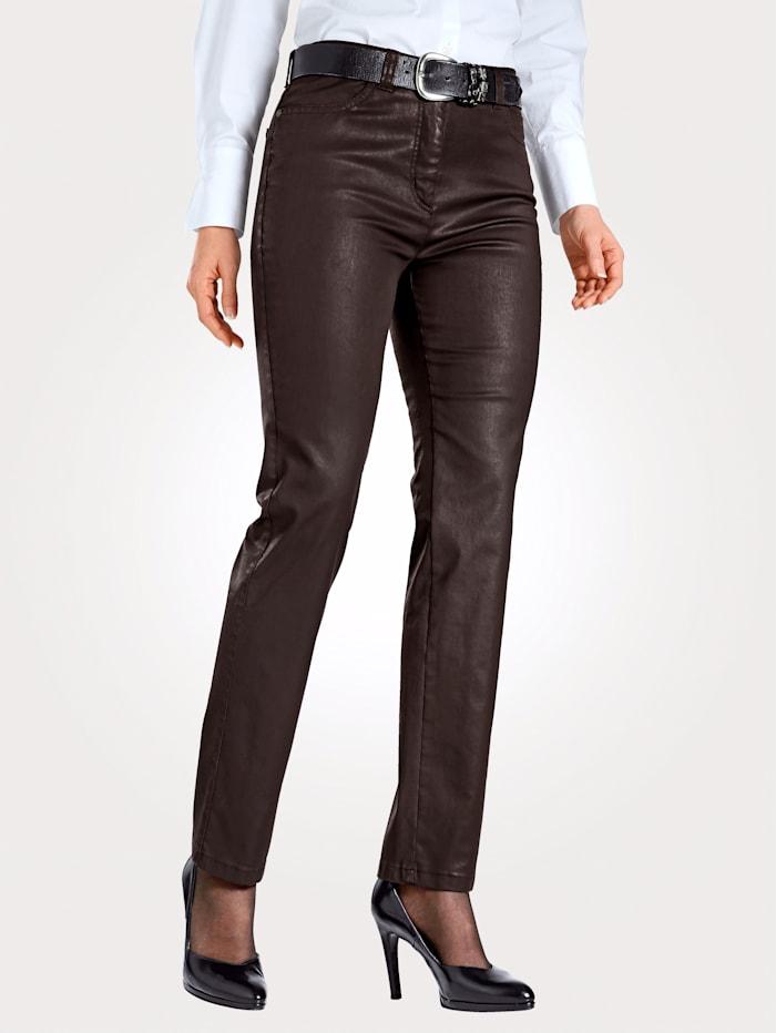 Toni Pantalon 5 poches en cuir synthétique, Marron