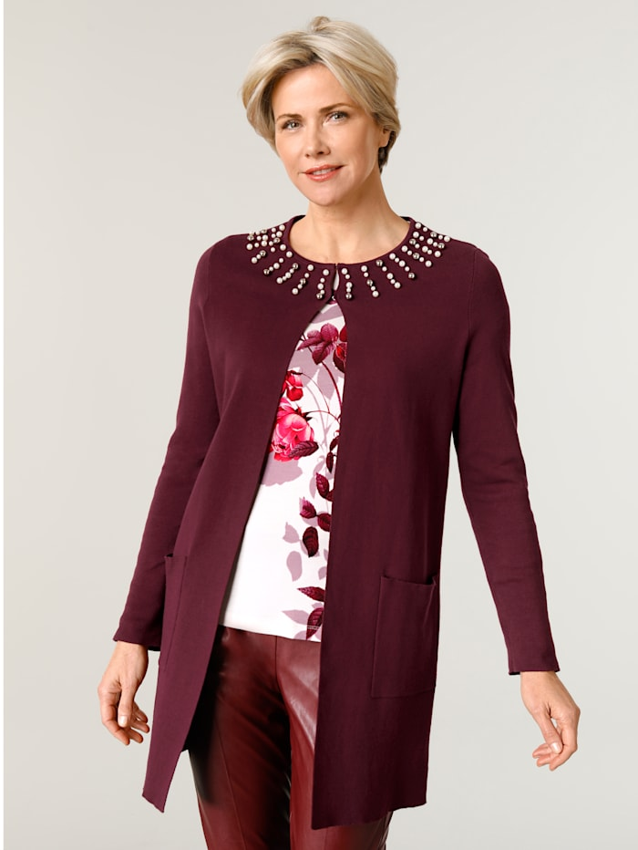 MONA Longline cardigan with faux pearl detailing, Bordeaux