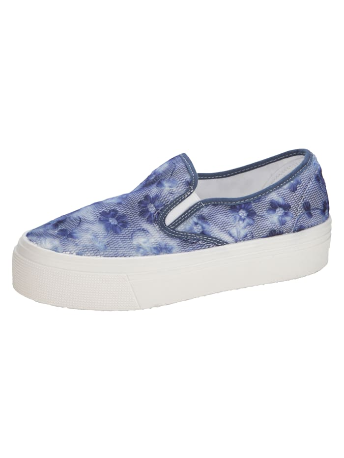 Plateauslipper mit floralem Spitzenbesatz, Blau