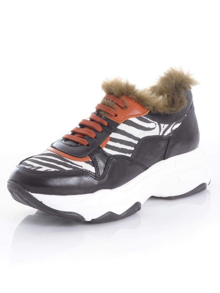 Alba Moda Sneaker met imitatiebont, Zwart/Steenrood/Wit