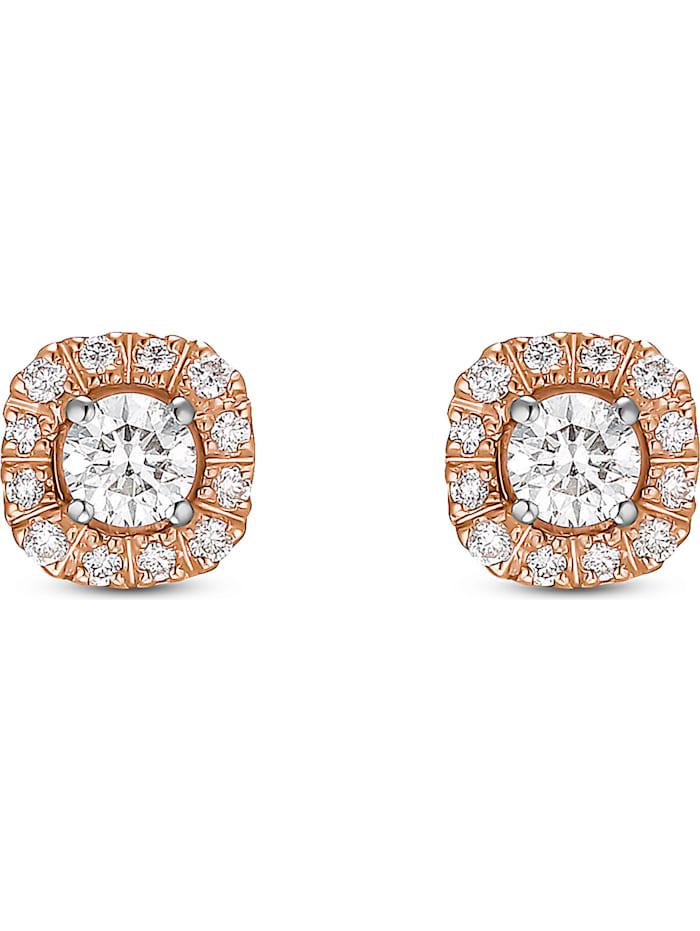 CHRIST C-Collection CHRIST Damen-Ohrstecker 585er Roségold, 585er Weißgold 26 Diamant, bicolor