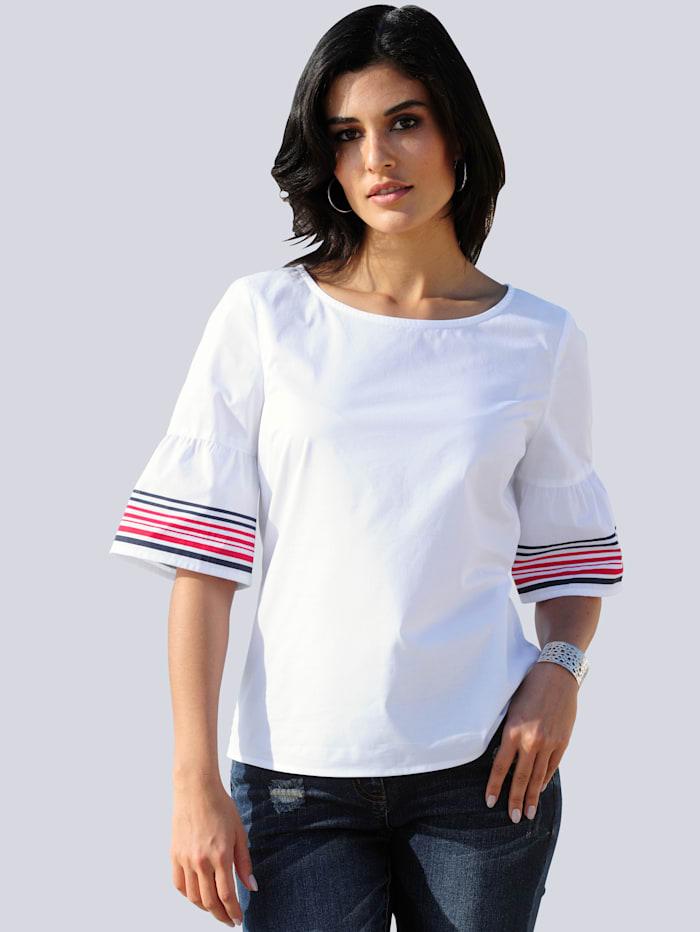 Alba Moda Blouse met contraststreep aan de mouwzoom, Wit/Rood/Marine