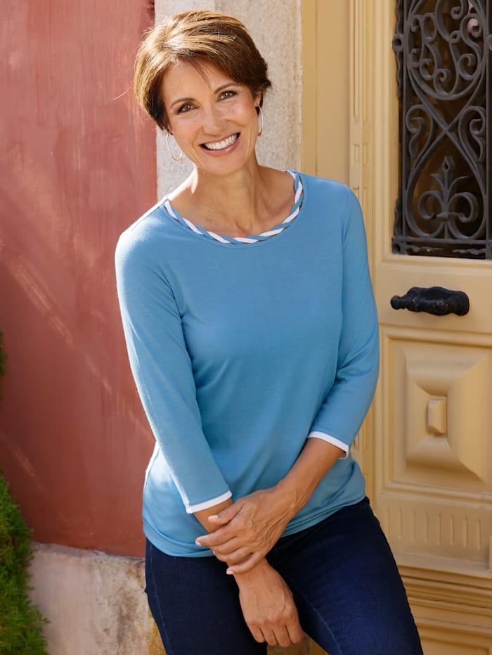 Paola Shirt met mooie contrasten, Blauw/Wit