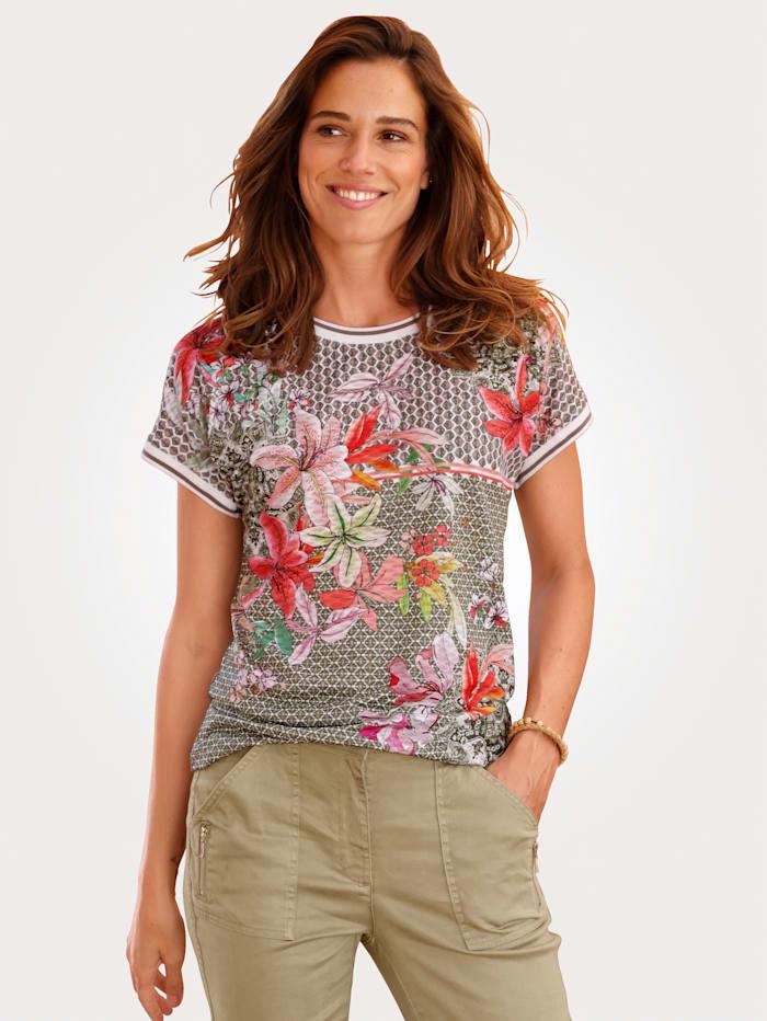 MONA Shirt aus effektvollem Jacquard, Grün/Khaki/Koralle