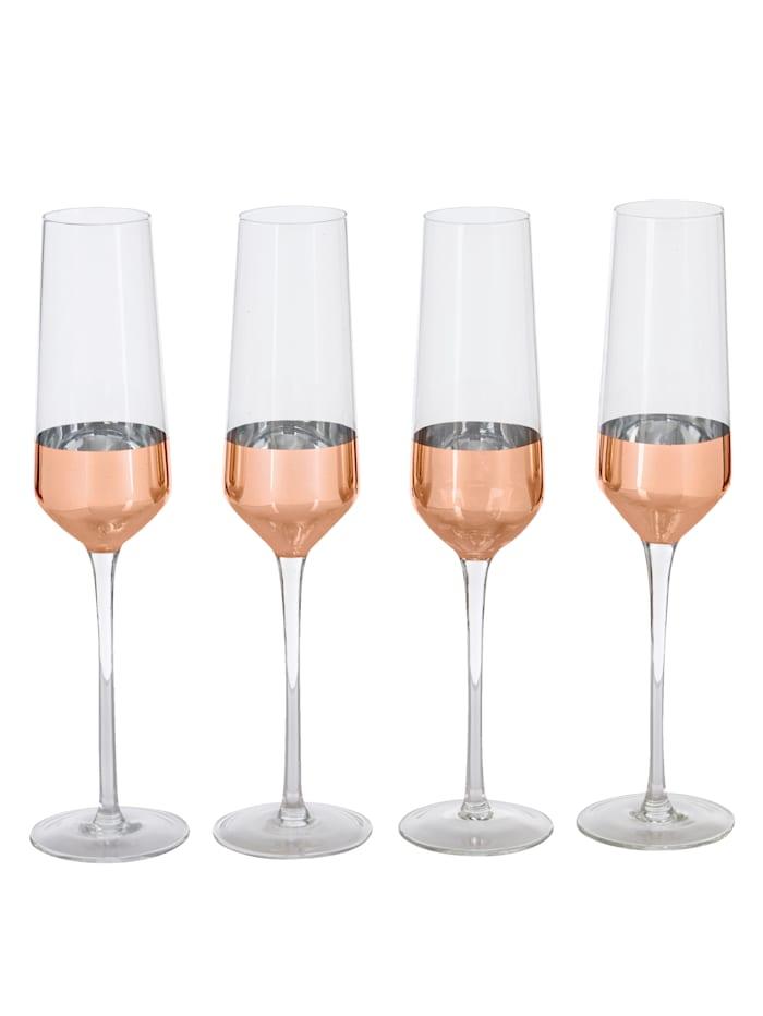 IMPRESSIONEN living Glas-Set, 4-tlg., klar/rosé/messingfarben