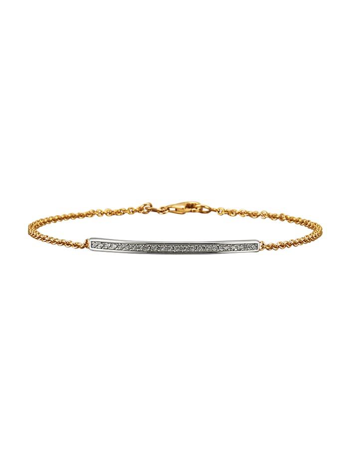 Amara Or Bracelet en maille jaseron en or jaune 585, Blanc