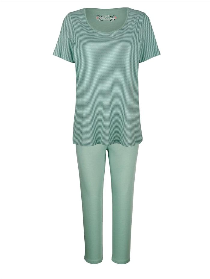 MONA Schlafanzug mit zeitlos geringeltem Oberteil, Salbeigrün