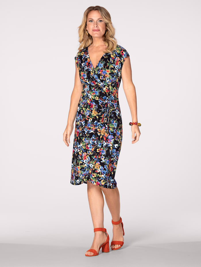 MONA Jersey dress in a wrap style, Black/Multi