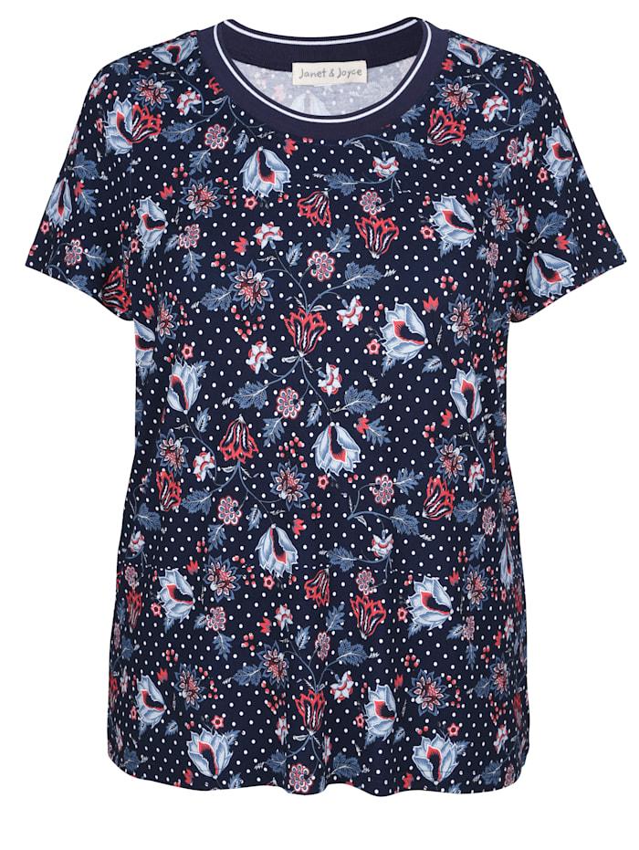 Shirt mit Pünktchen- und Blütendruck