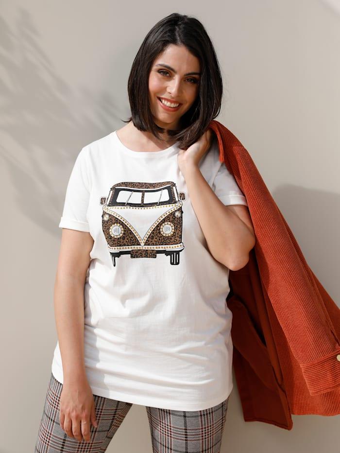 MIAMODA Shirt mit Auto-Motiv, Off-white