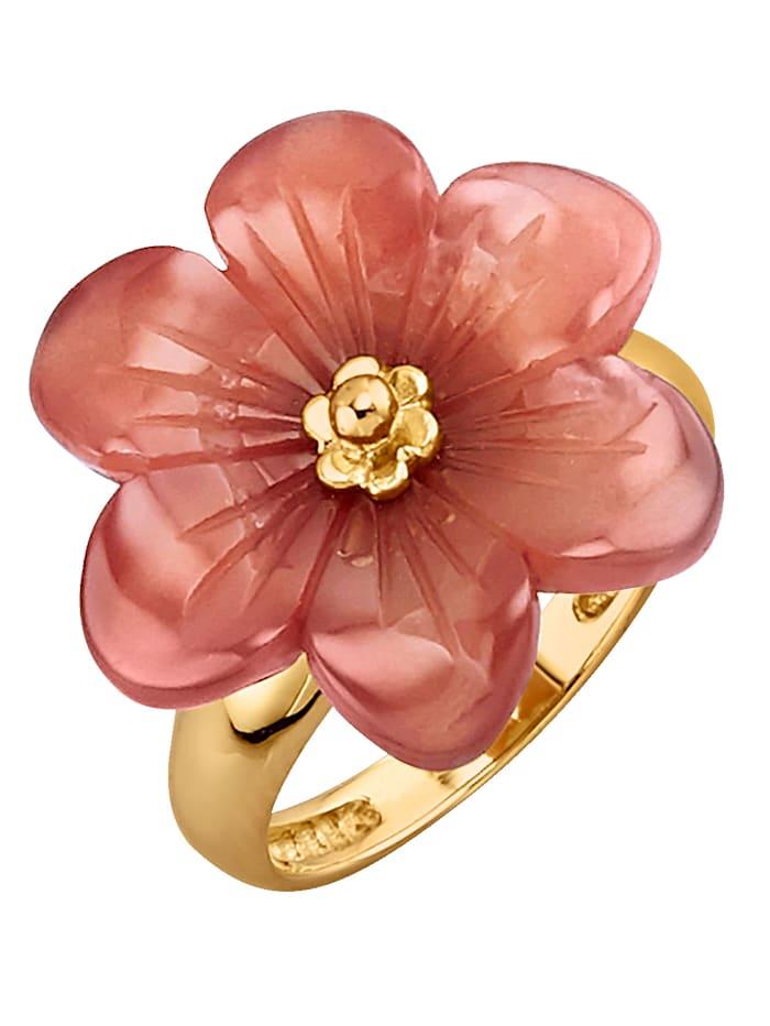 Sogni d'Oro Bague à fleur et carnéole, Coloris or jaune