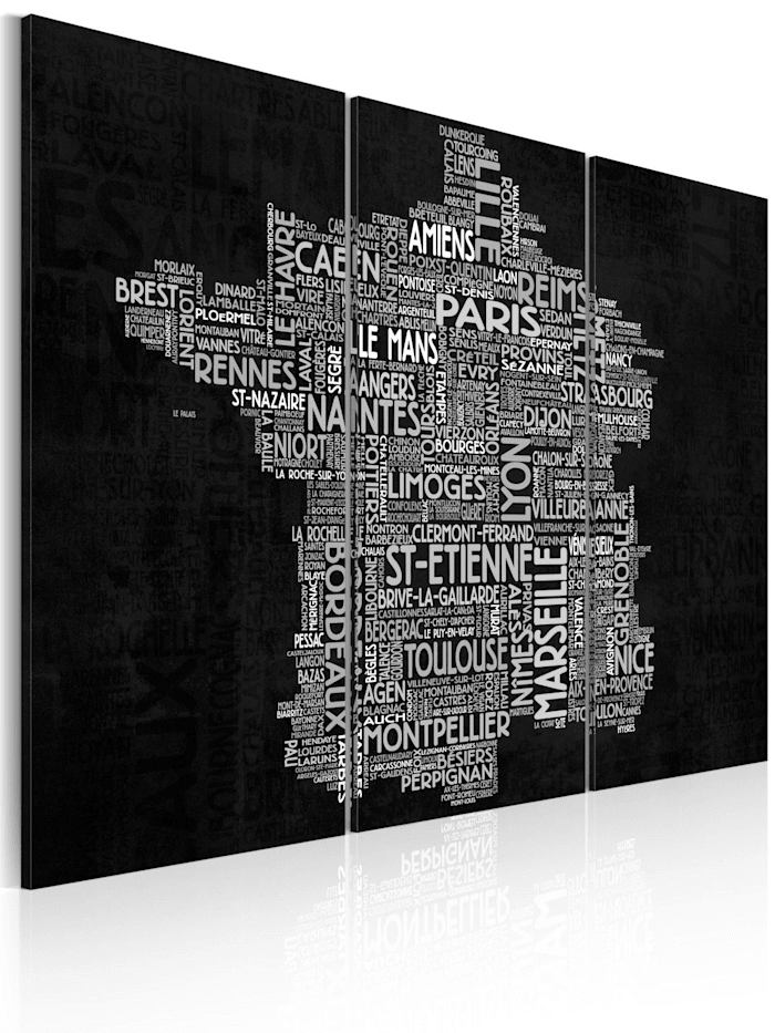artgeist Wandbild Text map of France on the black background - triptych, Weiß,Grau