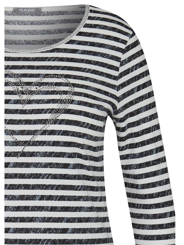 Shirt mit Allover-Ringeln und glitzerndem Front-Print