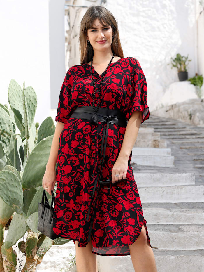 MIAMODA Kleid mit femininem Ausschnitt, Schwarz/Rot
