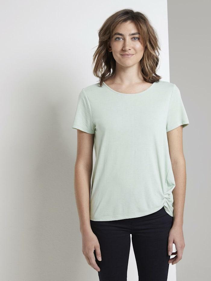 Tom Tailor Schlichtes T-Shirt mit Knotendetail, Fresh Mint Green