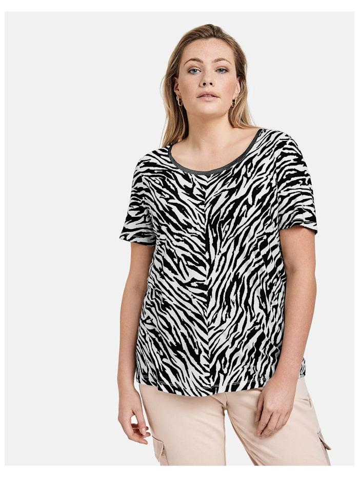Samoon T-Shirt mit Zebra-Allover, Black gemustert