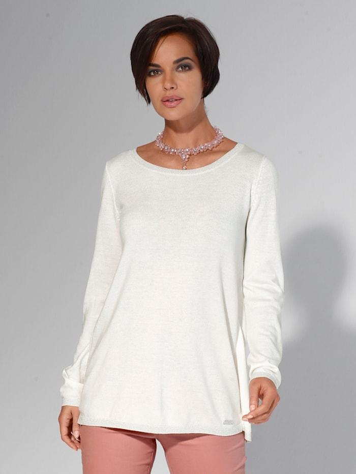 AMY VERMONT Pullover mit metallisiertem Garn am Bündchen, Off-white