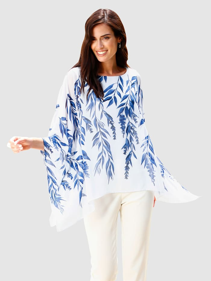 Paola Tunique à imprimé mode, Blanc/Bleu roi
